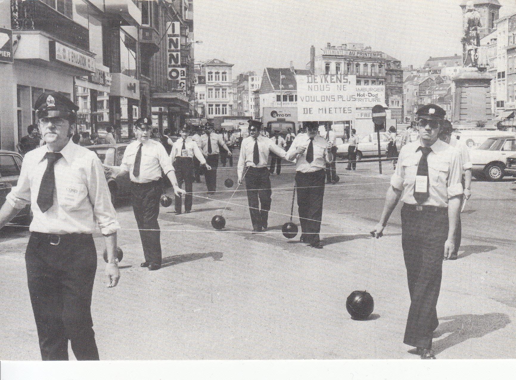 Manifestation des gardiens de prison à Verviers le 25 juin 1979