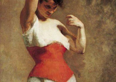 DE WITTE : Femme au corset rouge (1880)